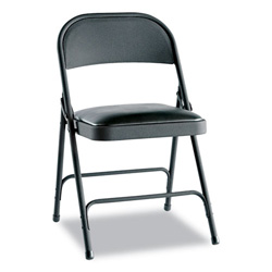 Alera Steel Folding Chair w/Padded Seat, Graphite, 4/Carton