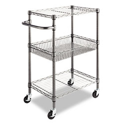 Alera Three-Tier Wire Rolling Utility Cart, 16w x 26d x 39h, Black