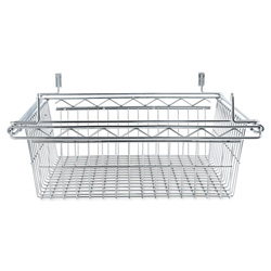 Alera Sliding Wire Basket For Wire Shelving, 18w x 18d x 8h, Silver