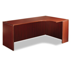 "Alera Valencia Series Credenza w/Right Corner Extension, 71""w, Mahogany"
