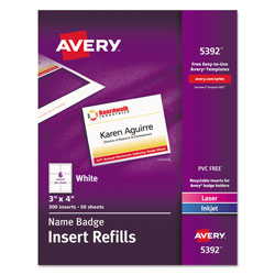 "Avery Plain Insert Badge Refill, Fits 3""x4"" Holder, 300/Box, White"