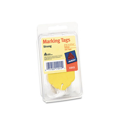 Avery Price Tags, Yellow, Strung, 100 Tags per Pack, 2 3/4 x 1 11/16