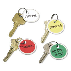 "Avery Metal Rim Key Tags, 1 1/4"" Diameter, Assorted Colors, 50 Tags per Pack"