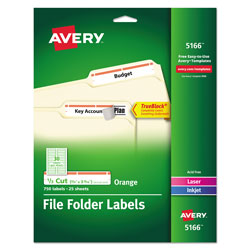 Avery Permanent Self Adhesive Laser/Ink Jet File Folder Labels, 750/Pack, Orange Border