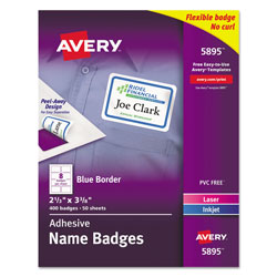 Avery Self Adhesive Laser/Ink Jet Name Badge Labels, 2 1/3x3 3/8, Blue Border, 400/Box