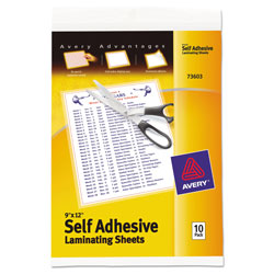 Avery Self Stick Laminating Sheets, 3 mil., 9 x 12, 10 Sheets/Pack