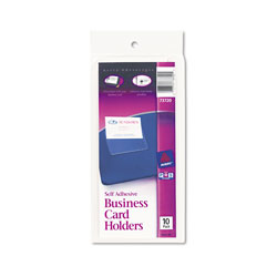 Avery Permanent, Self Adhesive Business Card Holders for 2 x 3 1/2 Card, 10/Pack