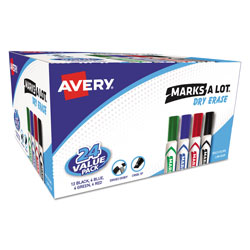 Avery Marks A Lot® Chisel Tip Whiteboard Marker, Value Pack 20 + 4