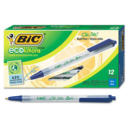 Bic EcoLutions™ Clic Stic® Med Pt Retractable Ballpoint Pen, Blue Barrel/Ink