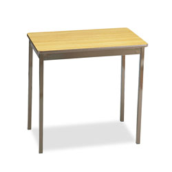 Barricks Non Folding Utility Table with Steel Legs, Laminate Top, 30 x 18, Oak/Brown