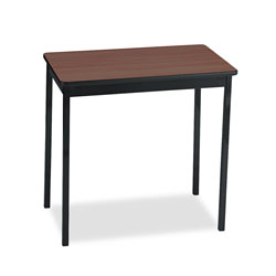 Barricks Non Folding Utility Table with Steel Legs, Laminate Top, 30 x 18, Walnut/Black