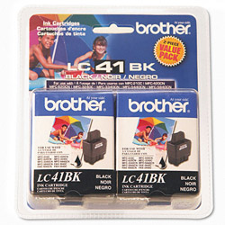 Brother LC41BK2PKS Black Inkjet Cartridges, 500 Pages