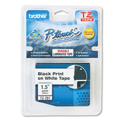Brother TZ Standard Adhesive Laminated Labeling Tape 1 1 2w Black on White Each