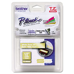 Brother TZ Standard Adhesive Laminated Labeling Tape 1 2 x 16 4 ft White Gold Each