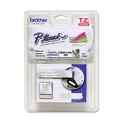 Brother TZ Standard Adhesive Laminated Labeling Tape 1 2 x 16 4 ft Gold Silver Each