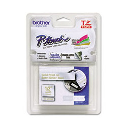 Brother TZ Standard Adhesive Laminated Labeling Tape 1 2 and quot x 16 4 ft Gold Silver Each