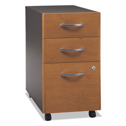Bush Series C Three Drawer Mobile Pedestal File, Graphite Gray/Medium Cherry