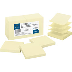 "Business Source Adhesive Note Pads, Pop-up, 3"" x 3"", 100 Sh, Yellow"