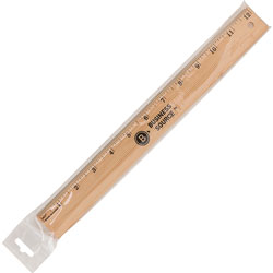 "Business Source 12"" Ruler, w/ Brass Blade, Beveled Edge, Scaled 1/16"", Wood"