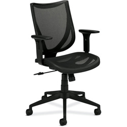 "Basyx by Hon Mid-Back Managerial Chair, 27"" x 39-1/2"" x 41"", Black"