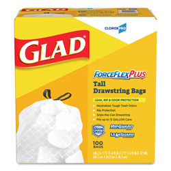 Glad White Drawstring Trash Bags,  13 Gallon,  0.95 Mil,  Box of 100 1 Box.100 Bags per Box.
