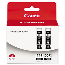 Canon 4530B007AA (PGI-225) Ink Tank, 38 mL , Black, 2/Pack