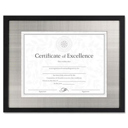 Dax Contemporary Black Wood Document Frame with Silver Metal Mat, Desk/Wall, 11x14