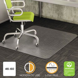 Deflecto DuraMat Vinyl Chair Mat for Low/Medium Industrial Carpet, 46 x 60, No Lip
