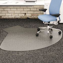"Deflecto SuperMat Vinyl Chair Mat for Firm Commercial Carpets, Beveled, 60x66"", Clear"