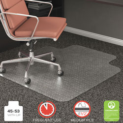 Deflecto RollaMat Vinyl Chair Mat for Medium/High Pile Plush Carpet, 45 x 53, 25 x 12 Lip