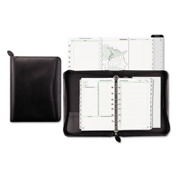 Daytimer® Recycled Bonded Leather Starter Set, One Week/Spread, 5-1/2 x 8-1/2, Black