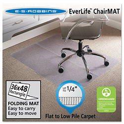 E.S. Robbins Anchormat Chair Mat for Low Pile Carpets, 36w x 48l, Clear