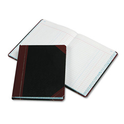 Pendaflex Record/Account Book, Black/Red Cover, Journal Rule, 9 5/8 x 7 5/8, 300 Pages