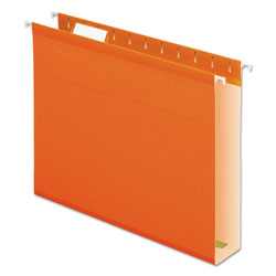 "Pendaflex 2"" Capacity Reinforced Hanging File Folders, Kraft, Letter, Orange, 25/Box"