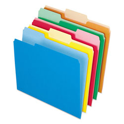 Pendaflex Recycled Interior File Folders, Assorted Bright Colors, 1/3 Cut, Letter, 100/Box