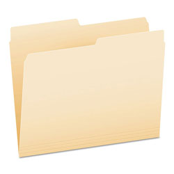 Pendaflex Manila File Folders, Recycled, Top Tab, 1/2 Cut, Assorted, Letter, 100/Box