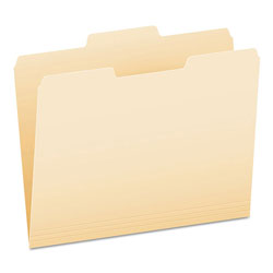 Pendaflex Manila File Folders, Recycled, Top Tab, 1/3 Cut, 2nd Position, Letter, 100/Box