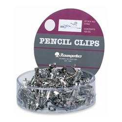 Baumgarten's Silver Pencil Clips For All Standard Size Pencils in a Display Box