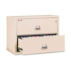 "Fireking Insulated 2 Drawer Metal Lateral File Cabinet, 37.5"" Wide, Beige"