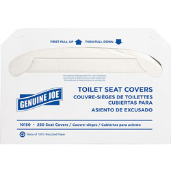 Genuine Joe White Toilet Seat Covers, Biodegradable/Flushable