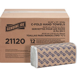"Genuine Joe 21120 White 1 Ply C-Fold Paper Towels, 13 1/2"" x 10 4/10"""