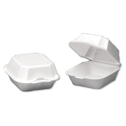 Genpak Sandwich Foam Hinged Container, White, Case of 4