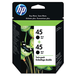 HP 45 Black Inkjet Cartridge, Model C6650FN, 830PGS Page Yield