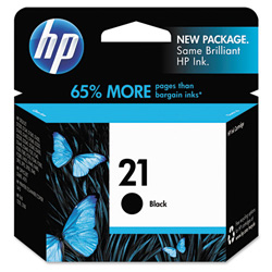 HP 21 Black Inkjet Cartridge, Model C9351AN140, 190 Page Yield