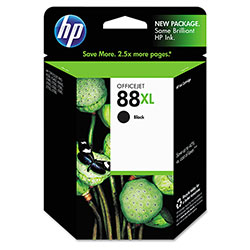 HP 88 Black Inkjet Cartridge, Model C9396AN, 2,450PGS Page Yield