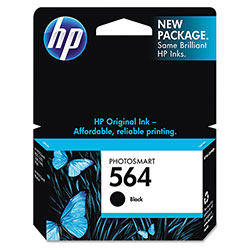 HP 564 Black Inkjet Cartridge, Model CB316WN, 250PGS Page Yield