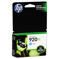 HP 920XL Cyan Inkjet Cartridge, Model CD972AN, 700PGS Page Yield