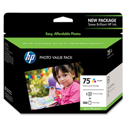 HP 75 Cyan / Magenta / Yellow Inkjet Cartridge, Model CG501AN