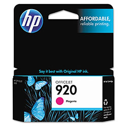 HP 920 Magenta Inkjet Cartridge, Model CH635AN, 300PGS Page Yield
