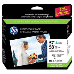 HP Inkjet Cartridges, 500 Page Yield, 8/PK, Tri-Color